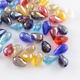 PandaHall Cheap Beads Wholesale AB Color Plated Glass Teardrop Beads Faceted Mixed Color 15x10mm Hole 1.5mm