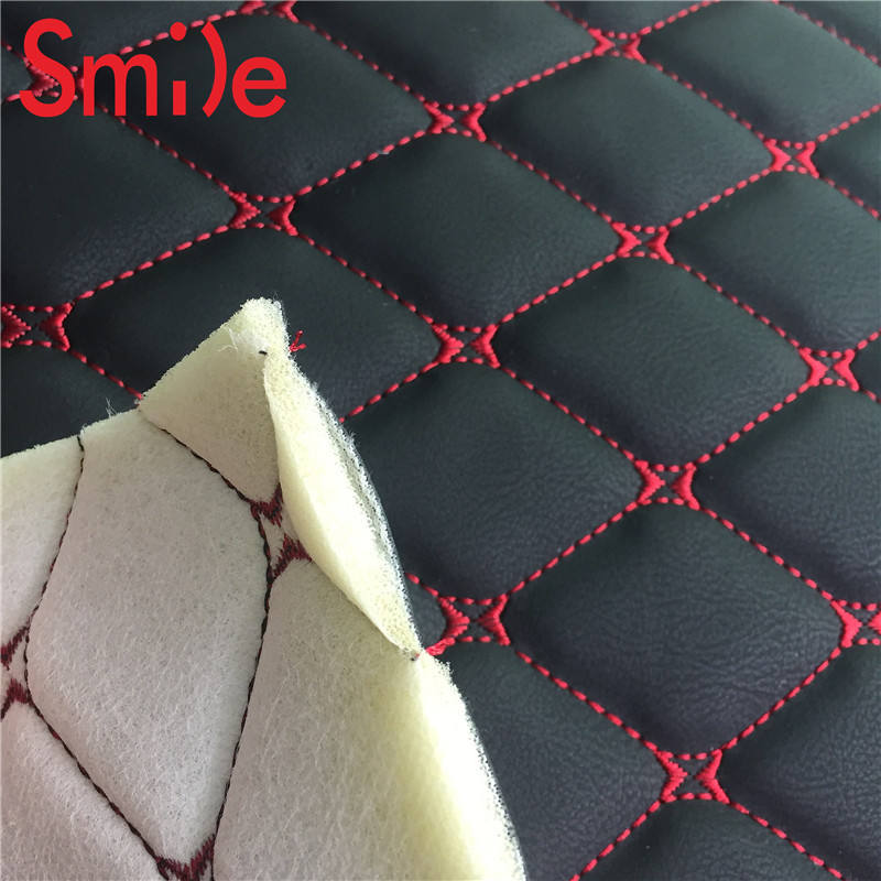 Fashion car interior embroidery leather with foam sofa car seat covering any design can be do free sample