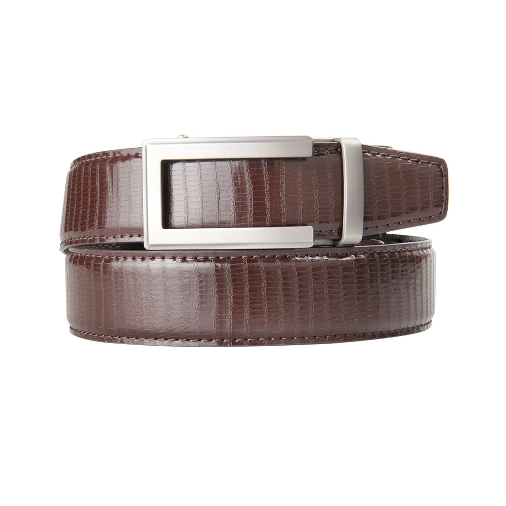 In Stock Low MOQs Brown Cowboy No Hole Men Fashion Leather Belts
