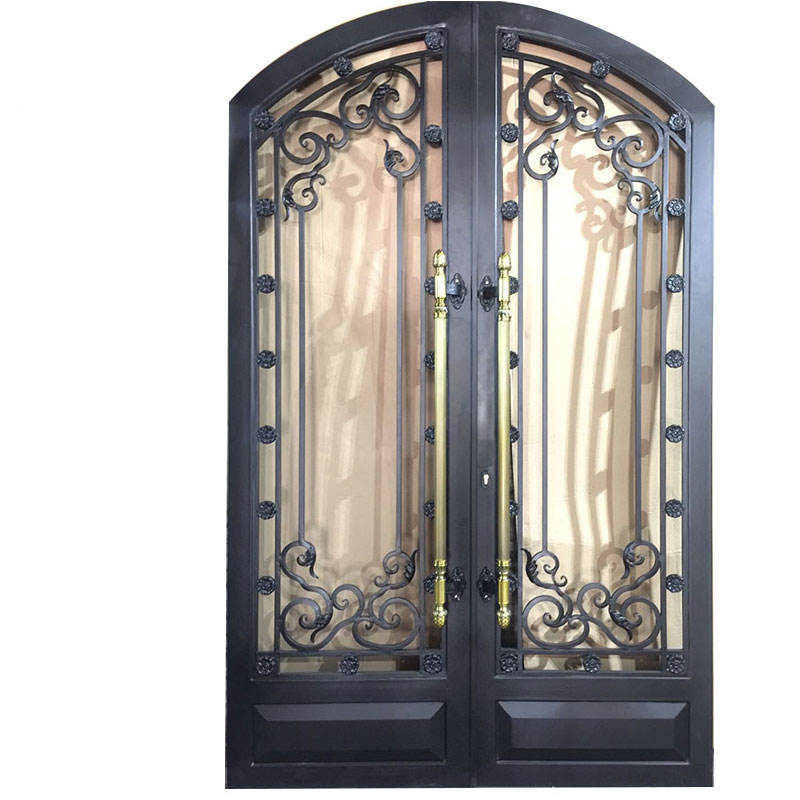 Factory Price arched wrought iron entry doors single / double iron front doors