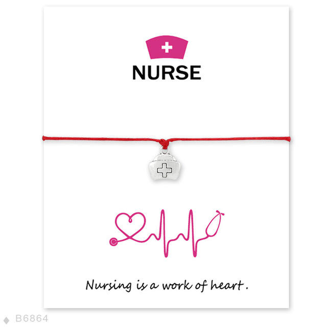 Customized Support Wish Bracelet Nursing is a heart of work Jewelry Woven Bracelet Nurse Cross Wish Card