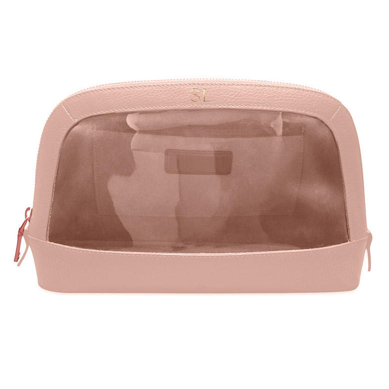 Beauty Make Up Case Leather Travel Cosmetic Bag with PVC window