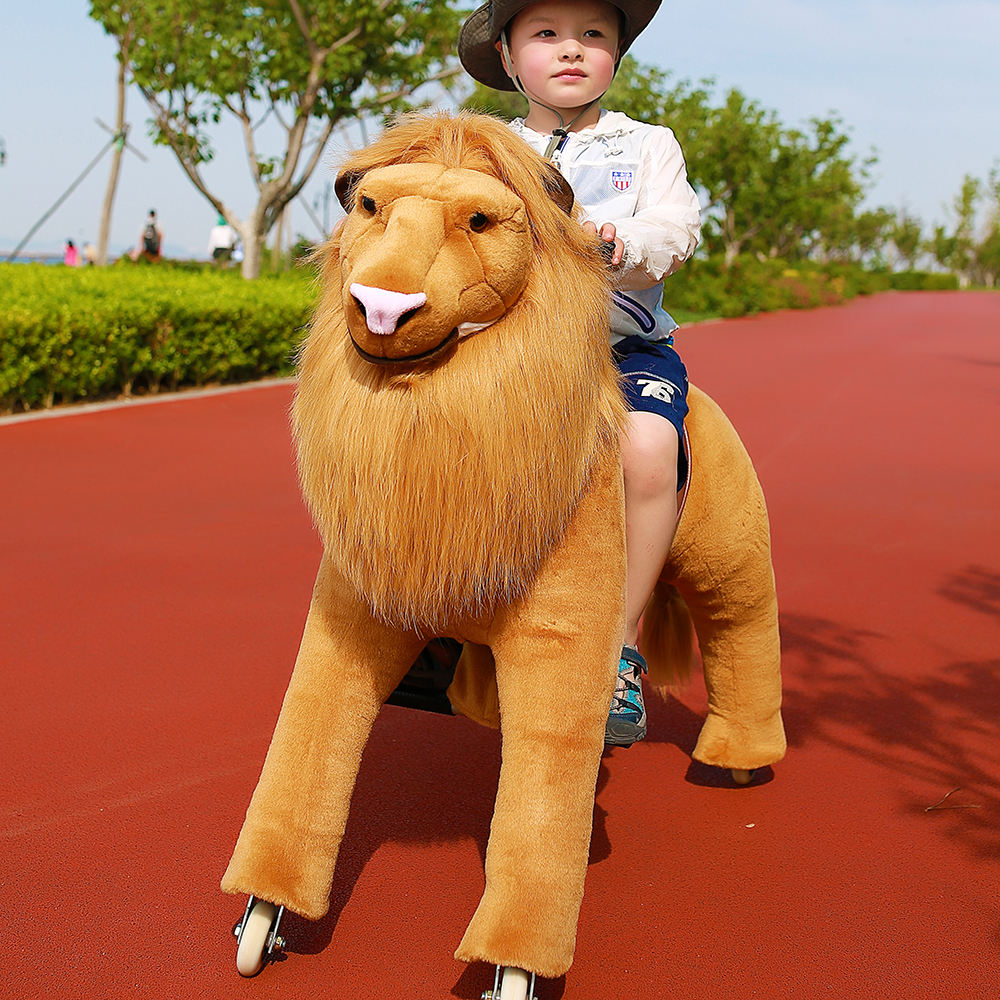 stuffed lion walking animal on wheels toy riding horse