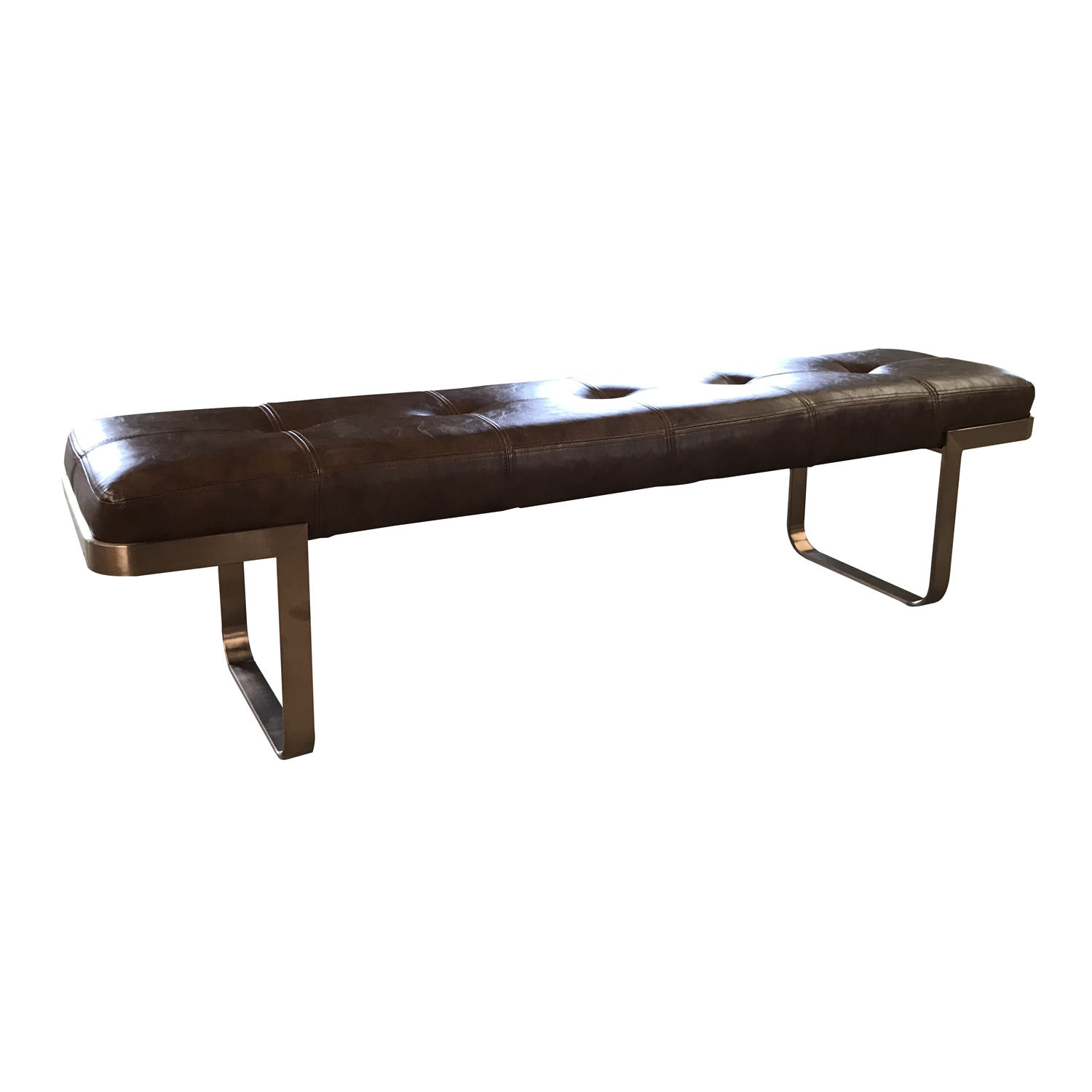 Gold frame stainless steel leather metal bench