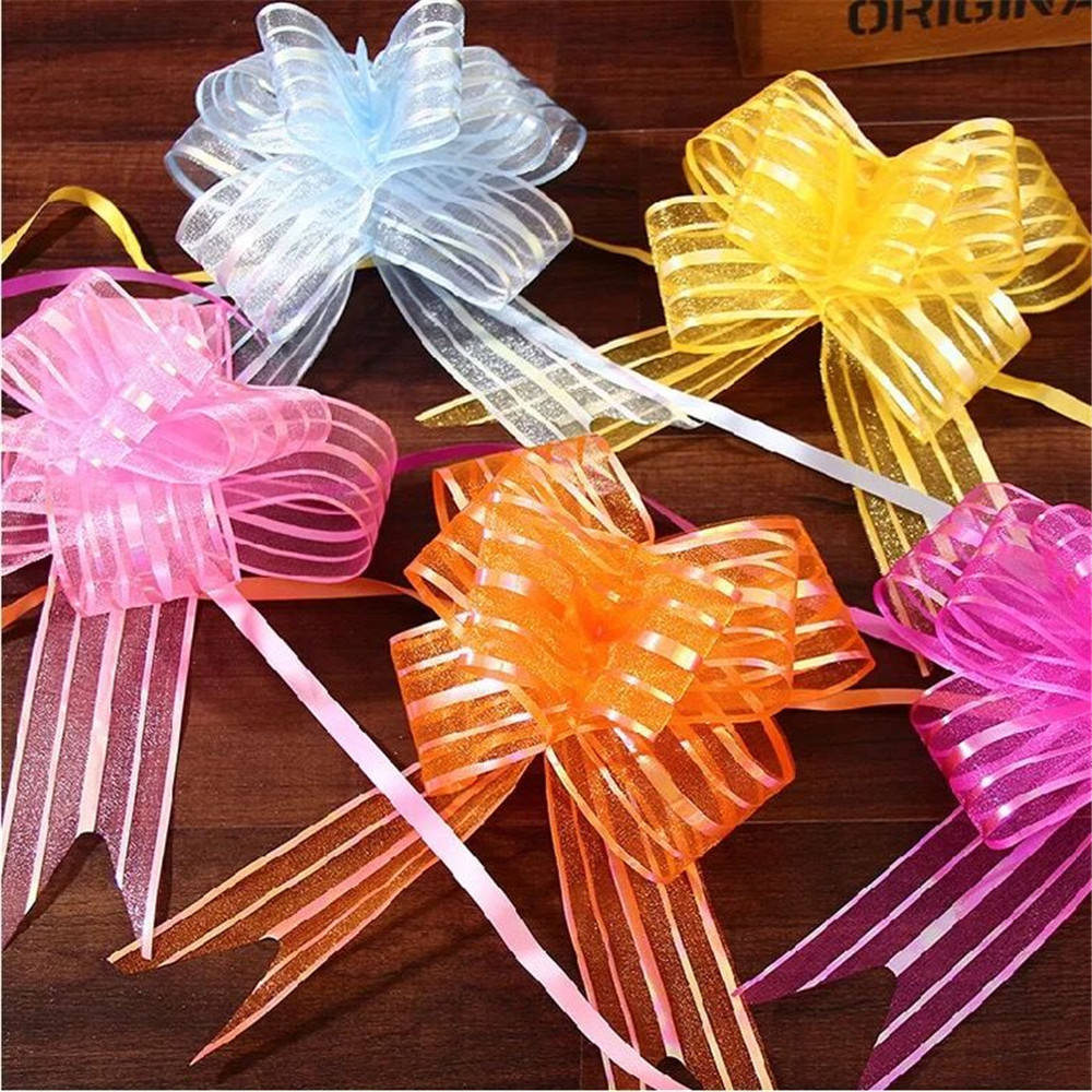 Wholesale 5CM Organza Ribbon Butterfly Pull Bow For Wedding