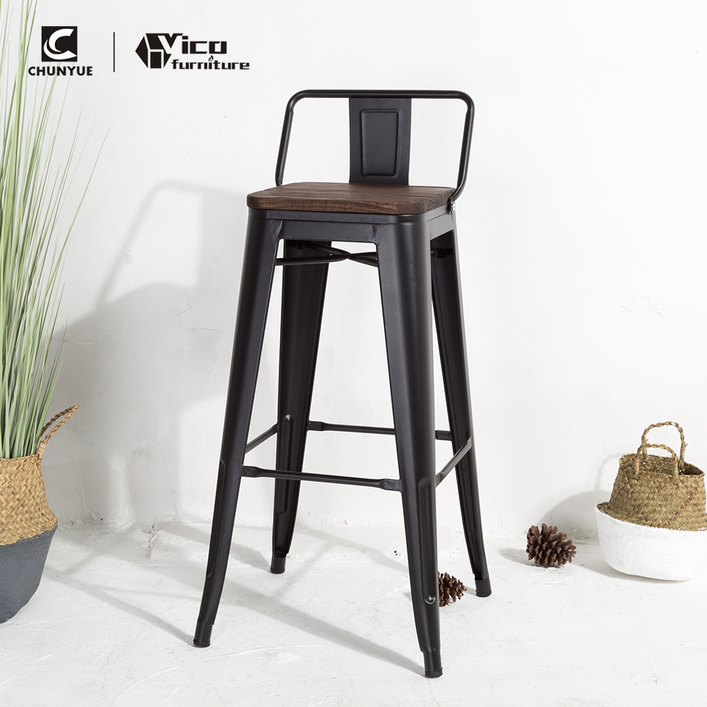Wholesale commercial outdoor patio high bar stools with back