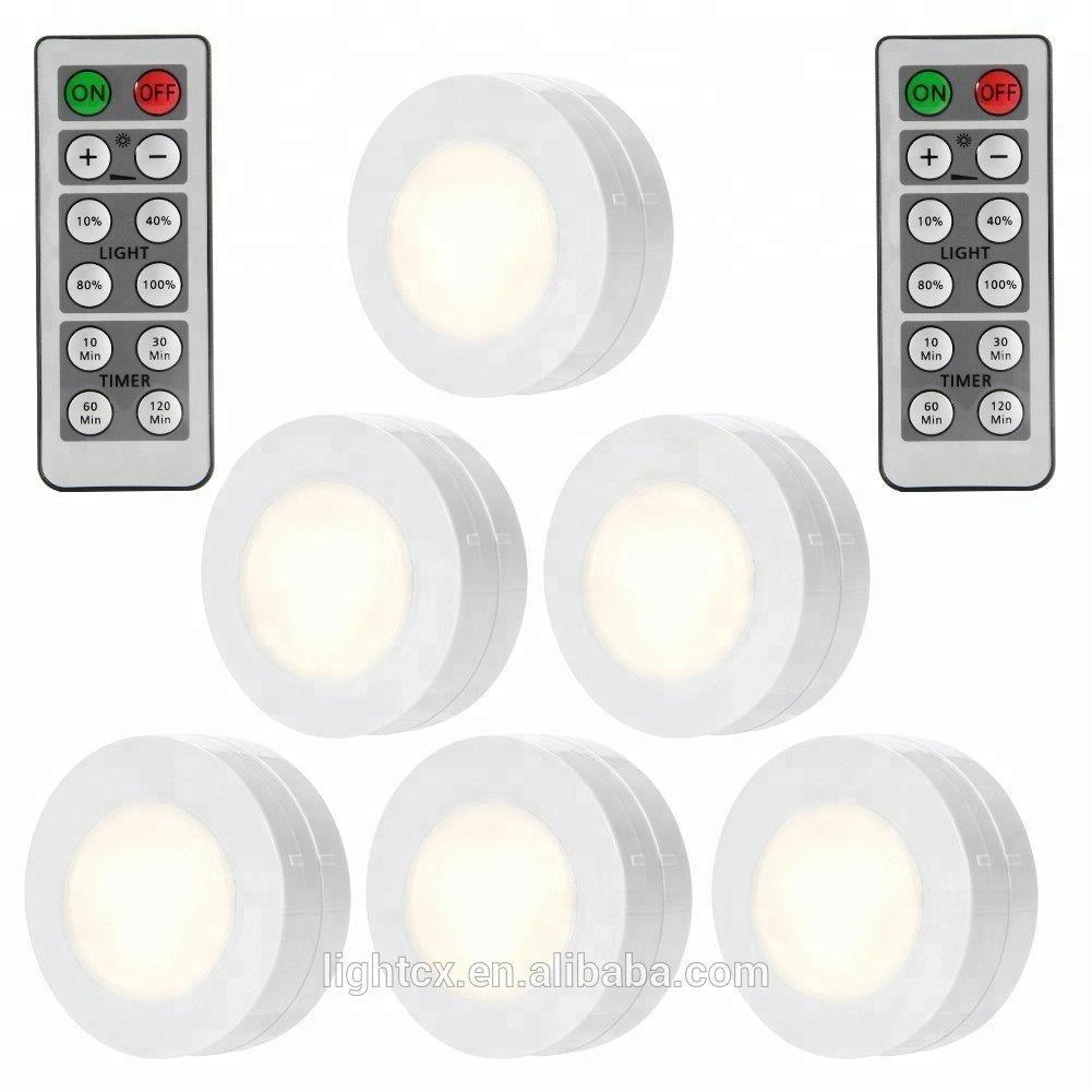 Wireless LED Puck Lights with Remote Control Battery Powered Dimmable Kitchen Under Cabinet Lighting