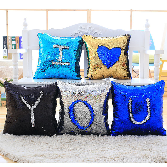 Custom design sequin DIY message stuffed plush toy pillows for sofa car