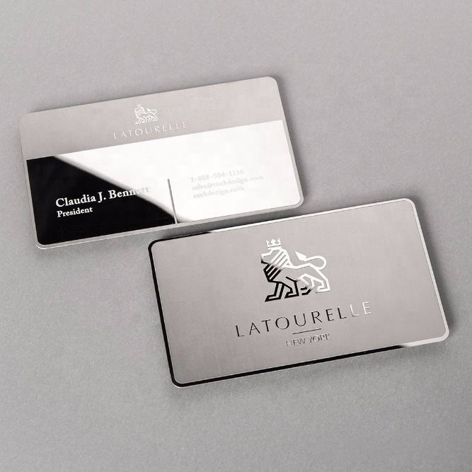 Mirror effect reverse etching/embossing stainless steel silver metal business cards