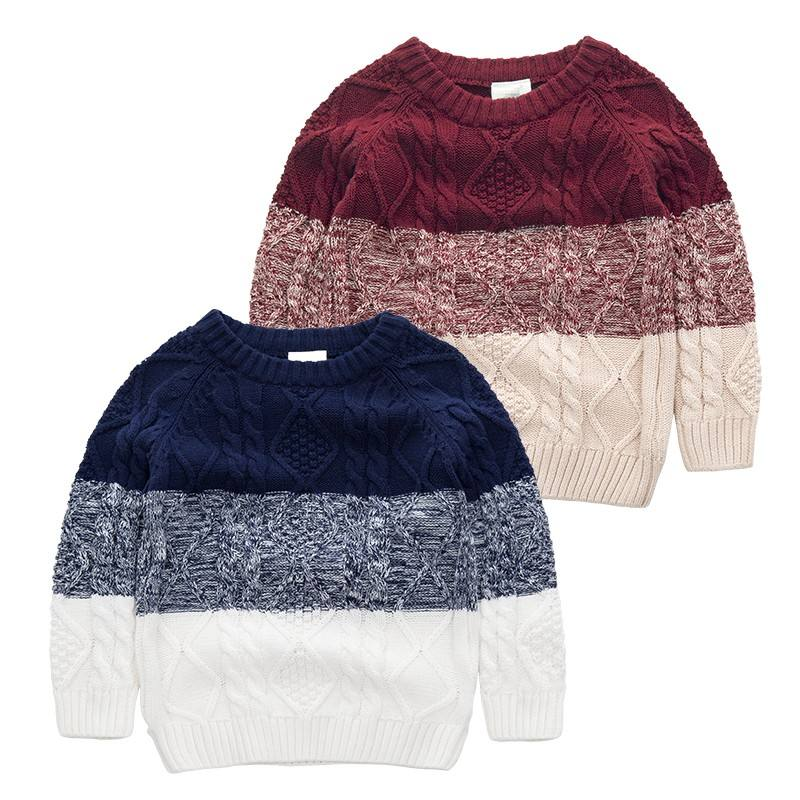 Fashion Children Clothing Kid Korean Style Color Combination Sweater Stock Lot