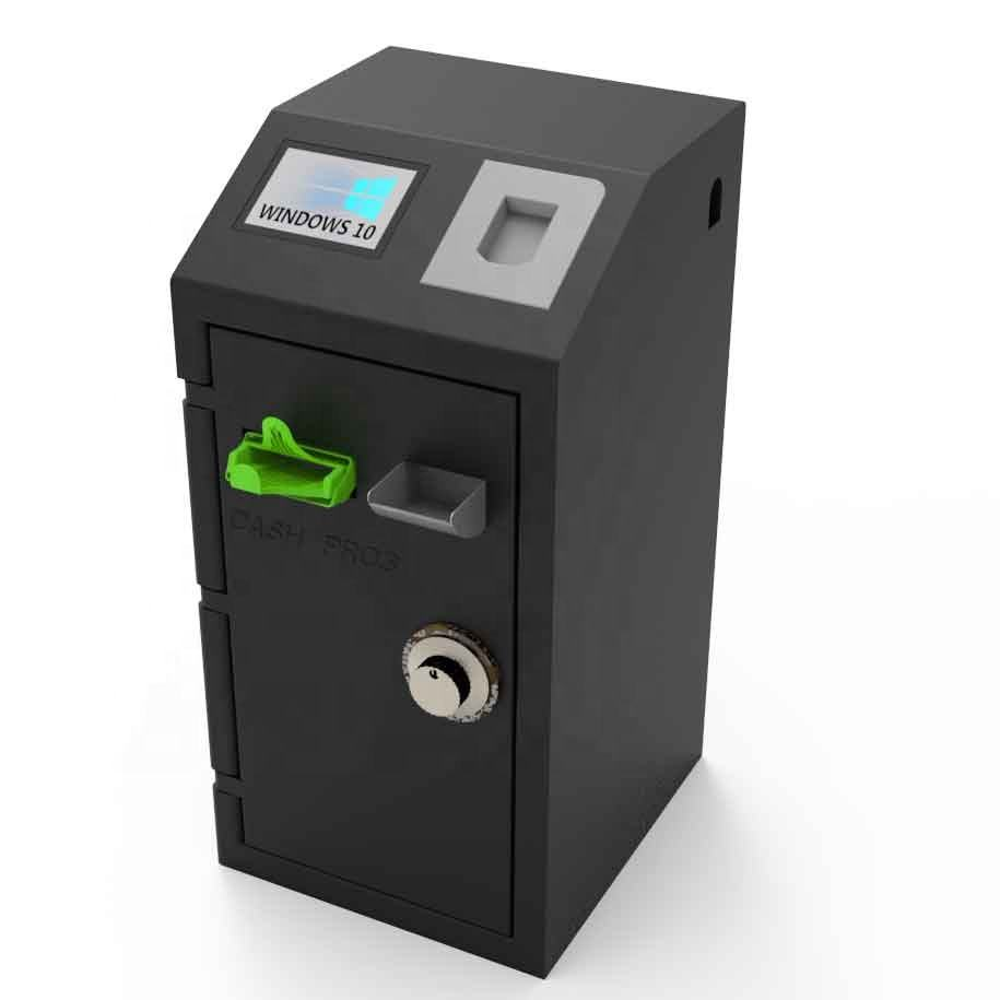 Universal compact cash deposit and dispensing machine for retail and on-demand payment collection applications