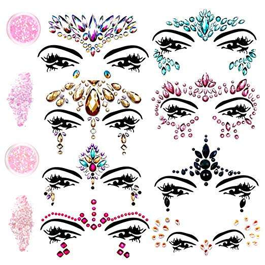 Mermaid Rhinestone Tattoo Face Jewels Glitter Bindi Crystals Rainbow Tears Face Stickers Fit for Festival Party