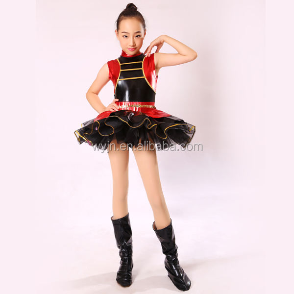 whimsical shiny red and black costume for girl Jazz dance