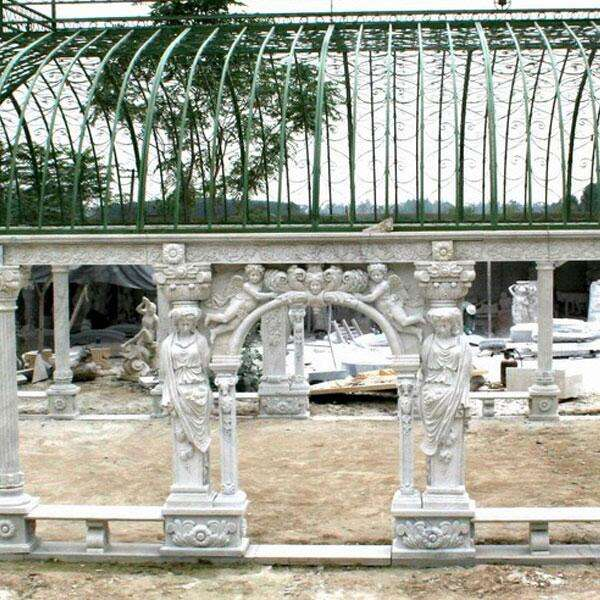 Large Europe art natural carving outdoor garden decoration stone pavilion lady white marble gazebos for sale