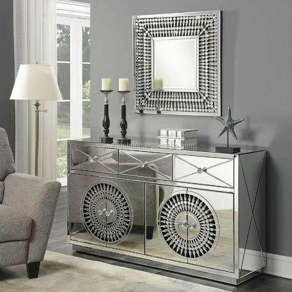 Crystal Mirrored Sideboard With 4 Doors