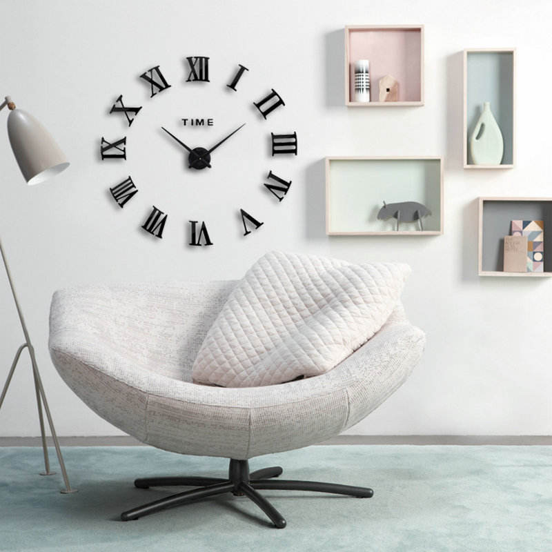 130CM Large Creative DIY Wall Clock 3D Roman Numbers Wall Sticker Clock for Home Decoration