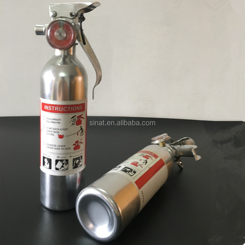Polished small car fire extinguisher 500ml silvery with aluminium American valve on sell
