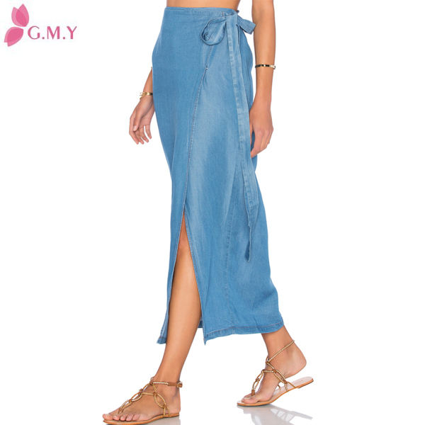 Indian fashion blue denim lange mode frauen hosenrock