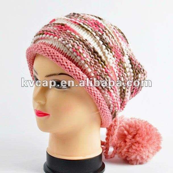 <span class=keywords><strong>2012</strong></span> 100% acrílico punto beanie tapa de la moda de la mujer cable de punto beanie cap más grande con pompón sma