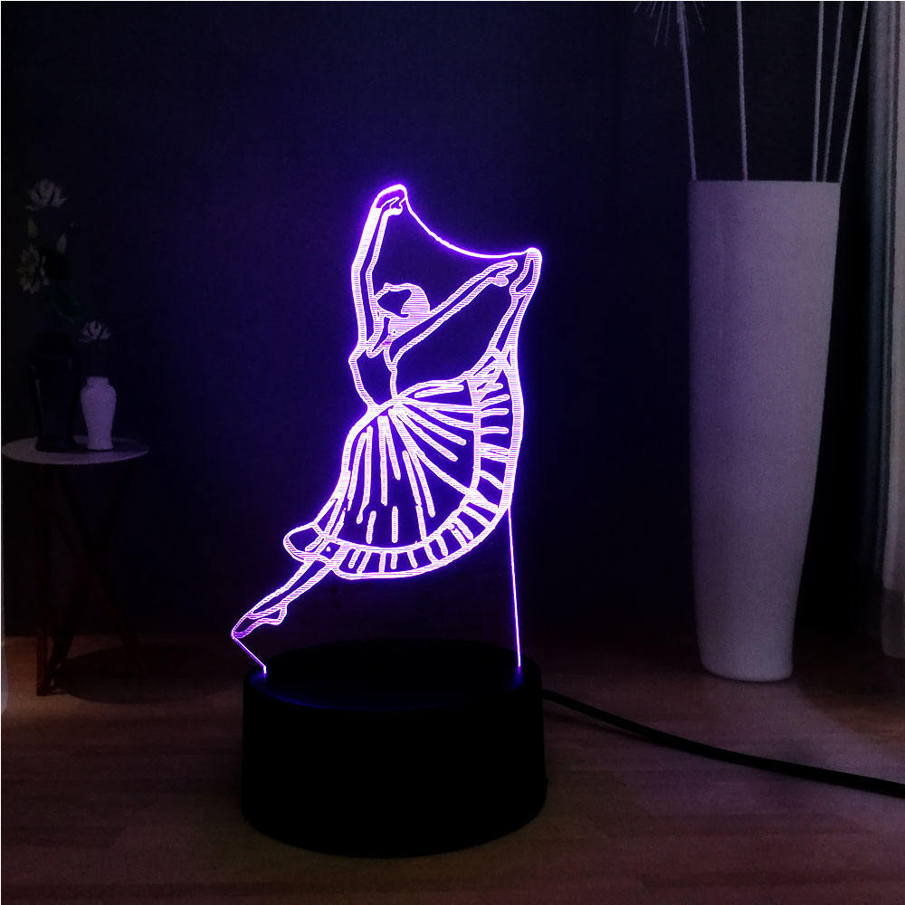 Lovely Ballet Girl 3D Night Light LED Switch Dancing Girl Atmosphere 3d illusion Lamp 3 Color Changing USB Children Bedroom Lamp