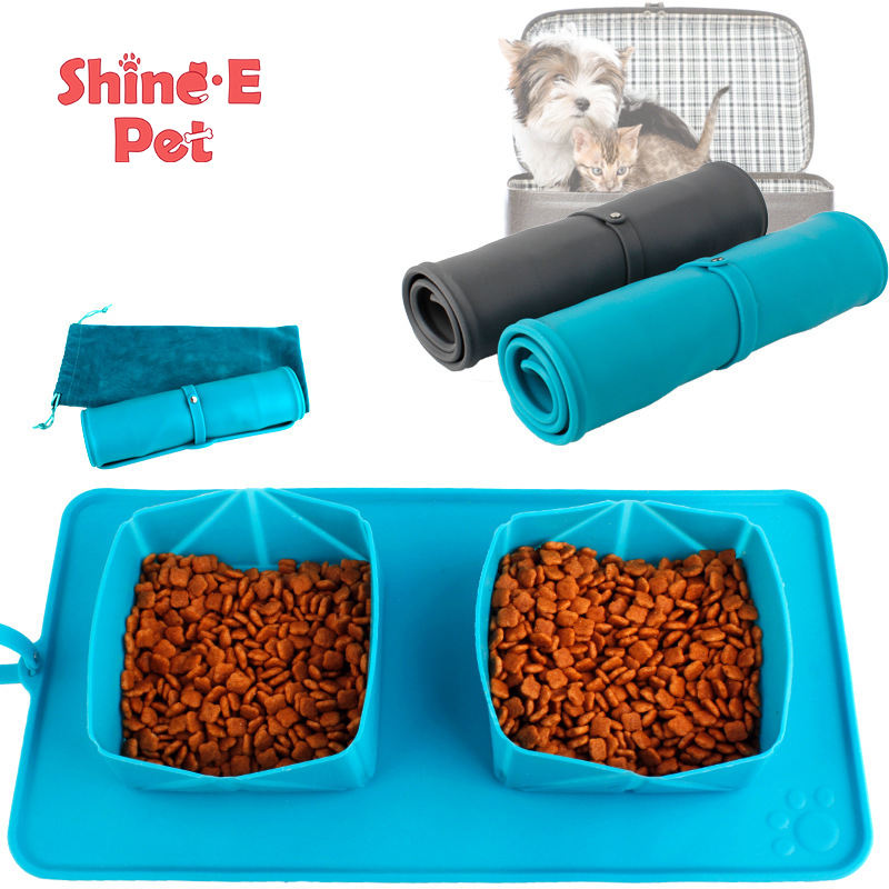 New pet folding double bowl environmental protection cat bowl manufacturers direct sales storage bowl