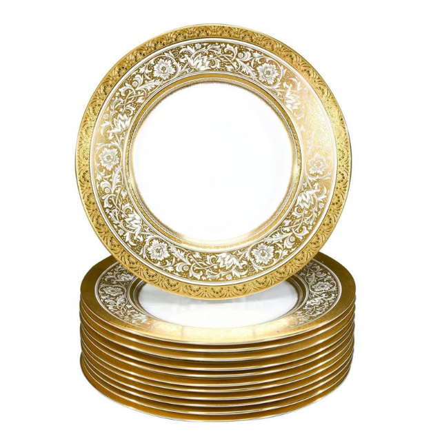 Wedding Top Quality Western Food Decal Gold Rim Plate