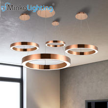 henge rose gold chandelier hotel  led ring pendant light fixture