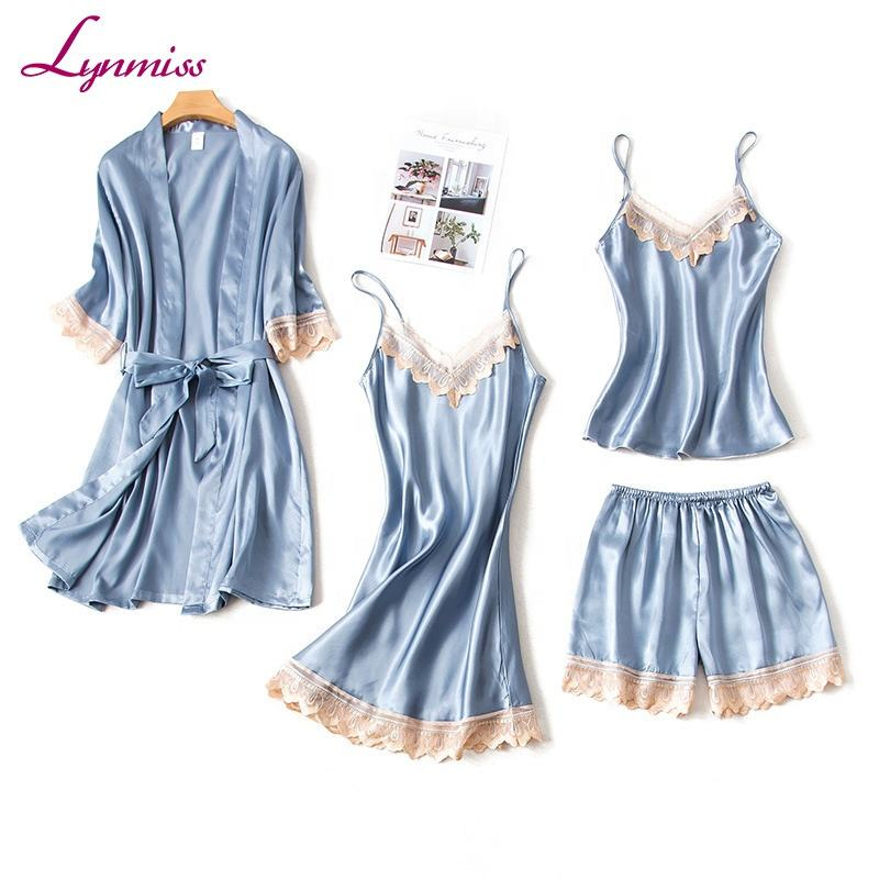 2019 Lynmiss Wholesale four pieces Pajamas robe Women Soft Adult sexy ladies satin pajama set