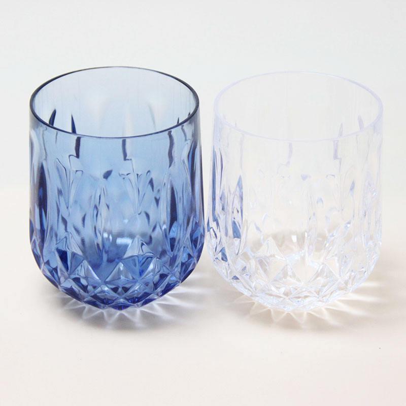 المصنعين الجملة الملونة أواني زجاجية من الكريستال 360 مللي الأزرق المسكرات الزجاج Stemless كأس نبيذ الأزرق أكواب الشرب