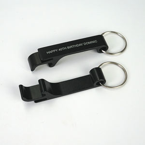 black bottle opener with white color logo aluminum alloy metal bottle opener keychain with logo