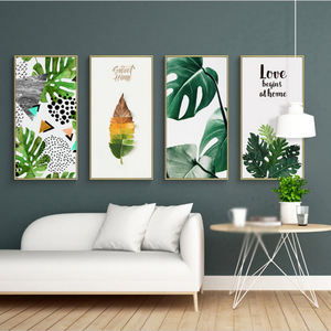 Tropical Leaf Poster Nature Love Canvas Pictures Paintings Printing Outer Frame