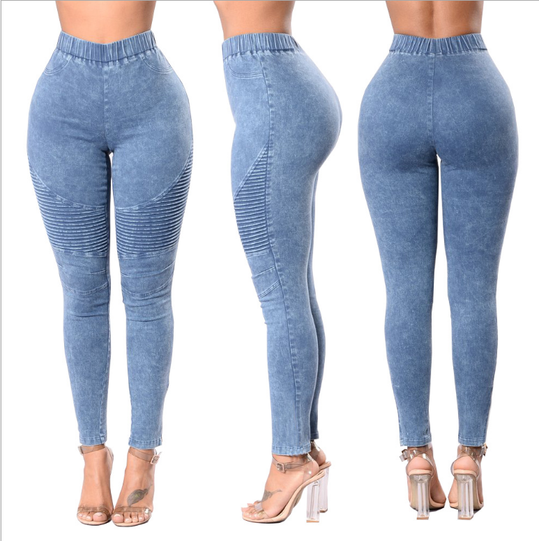 2019 elastic waist women's trousers Women Skinny Jeans Ladies Casual Slim Fit Long Pants Female oversized Trousers