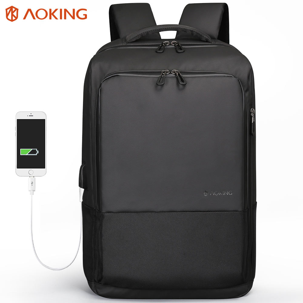 Aoking sac a dos ergonomic design 3 compartment light oxford smart laptop bag office notebook backpack with usb charger