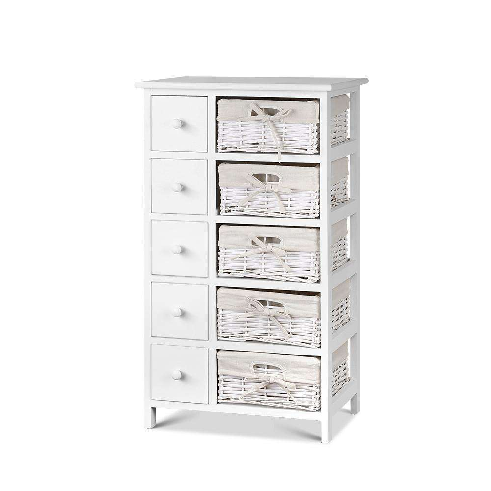 5 Drawers Wicker Basket Bedroom Storage Dresser Chest Cabinet Wood Entry Table