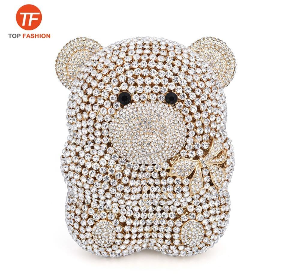 High Quality Crystal Rhinestone Clutch Bag Cute Bear Clutch Purse Wholesales from China Supplier