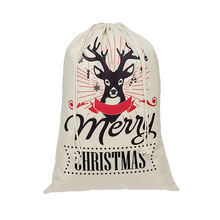 Large Christmas gift sacks canvas Xmas drawstring presents bag with deer pattern