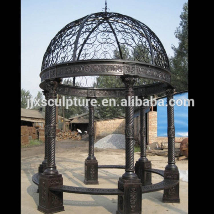 garden decor wrought cast iron gazebos metal pavilion for sale