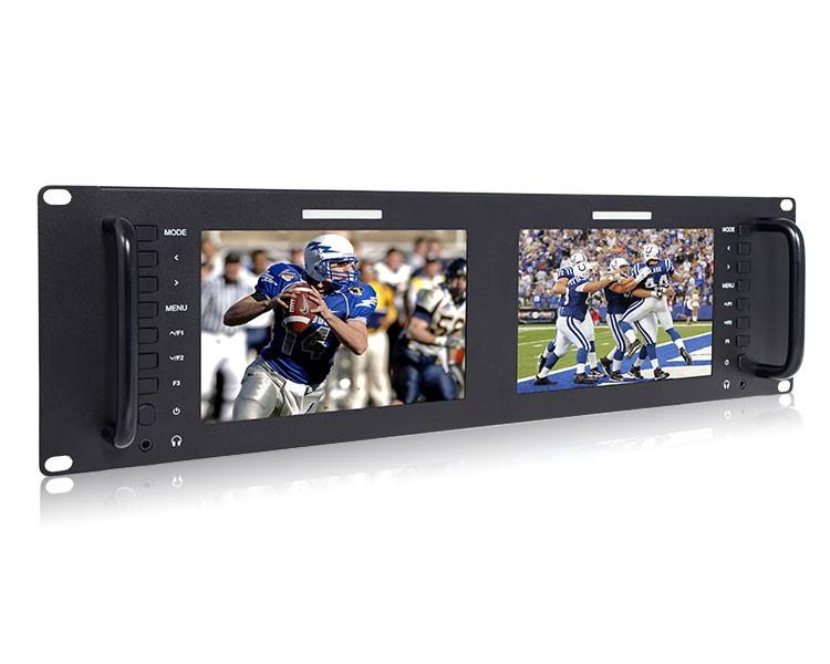 "hot sell cheap price Dual 7"" 3RU IPS Broadcast LCD Rack Mount Monitor for OBVan/Truck using"