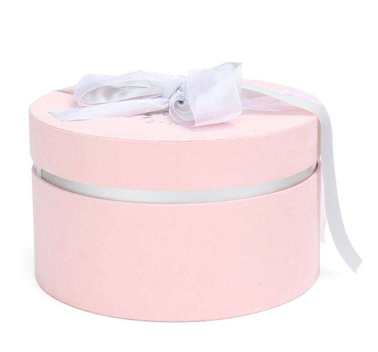 Eco-friendly paper Round flannelette wedding packaging gifts candy box eternal life flower box velvet packaging box wholesale