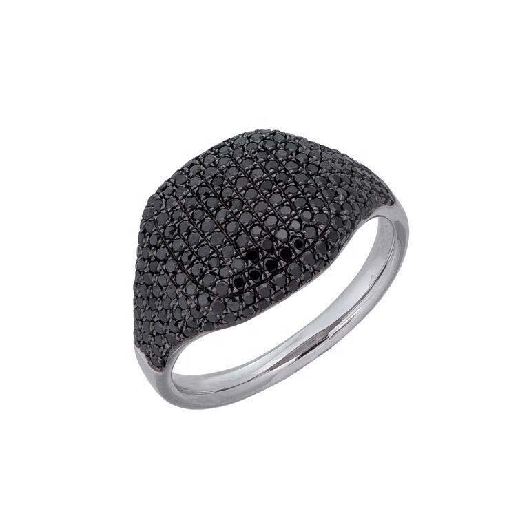 Luxury Jewelry 2019 New Design 925 Sterling Silver Cluster Black CZ Signet Ring