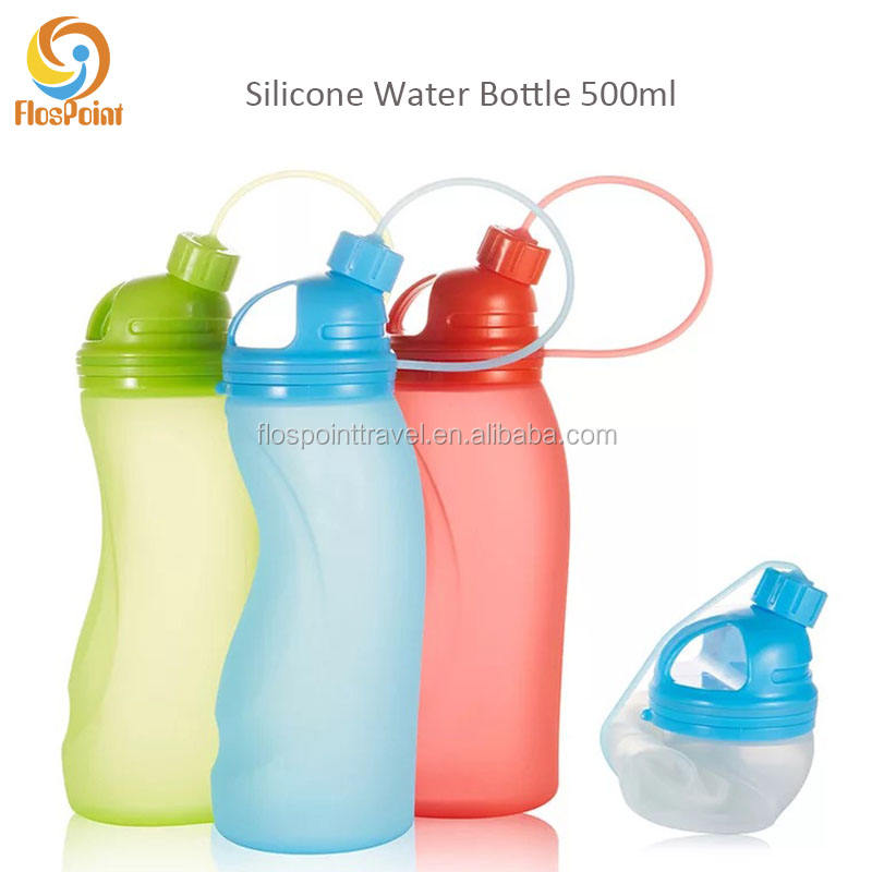 FlosPoint Bottle Collapsible Silicone Water Bottles - Sports Camping Canteen 500ml.