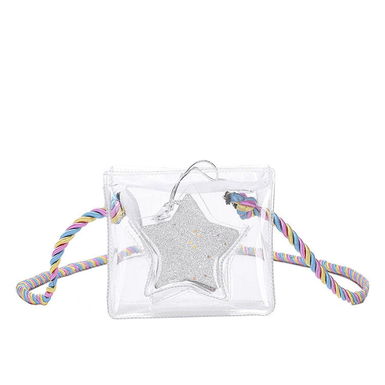2019 new Korean version of PVC transparent mother-of-pearl jelly five-pointed star chain bag shoulder slung child package