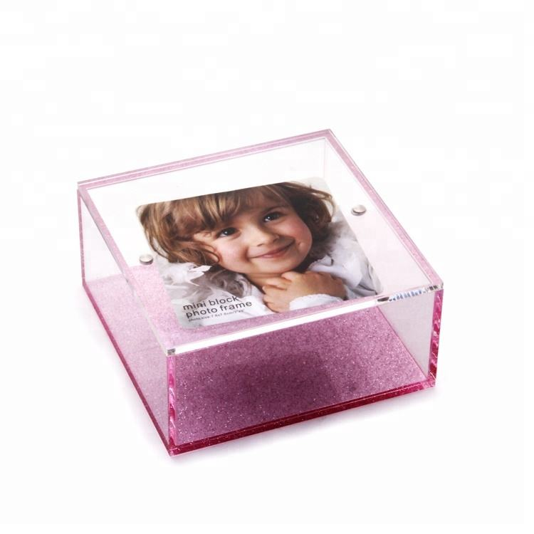 창 고 photo lid glitter pink storage box 홈 아크릴 custom 상자