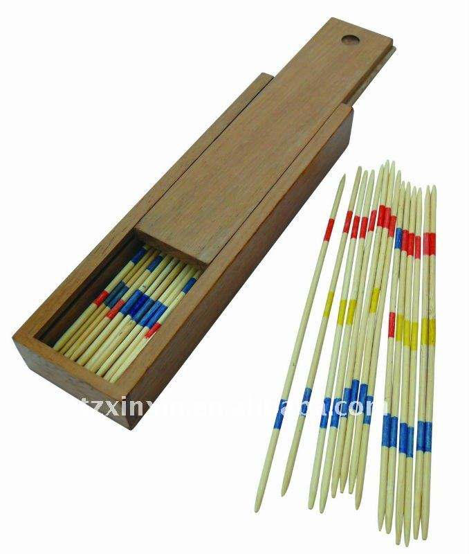 Wooden Mikado Game Pick up Sticks Game With Wooden Box