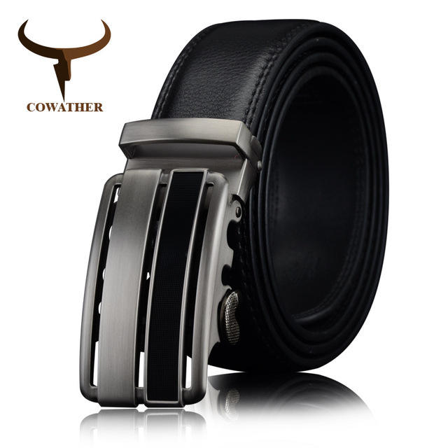 COWATHER cow Genuine Leather men Belts 2019 black brown strap for male Fashion length 110-130cm CZ060