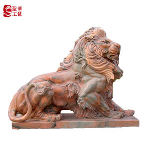 Hand carved life size marble lion statues for outdoor decoration