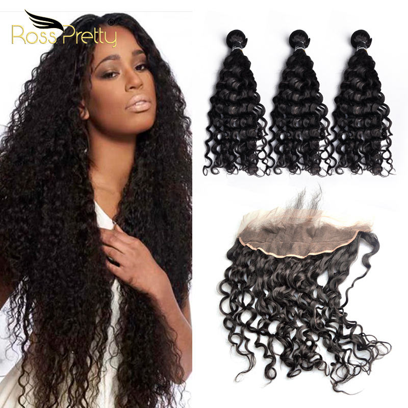 Ross Pretty Cheap Brazilian Hair 3 Bundles With Hair Frontal Italy Curly 13x4 Human Hair Frontal With Bundles