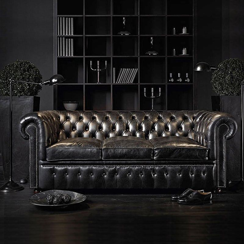 European living room furniture sofa set of Chesterfield Leather Sofa