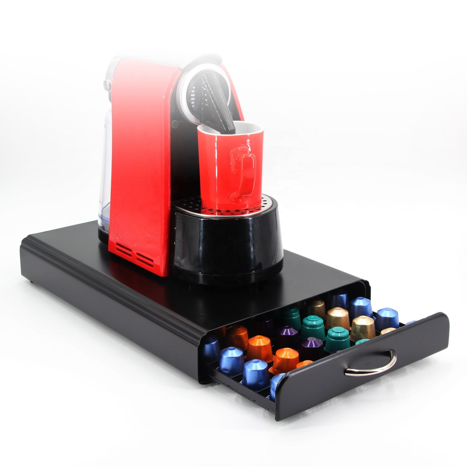 hot selling 60pcs Metal Organizer Nespresso coffee pod storage drawer coffee capsule holder