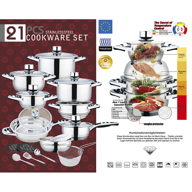 21Pcs Professional nonstick stainless steel cookware set